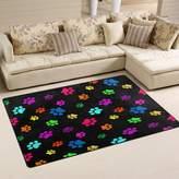 WOZO Colorful Paw Print Area Rug Rugs Non-Slip Floor Mat Doormats Living Room Bedroom