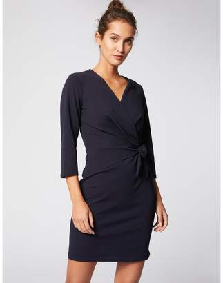 Morgan Tie-Waist Wrapover Dress with Long Sleeves