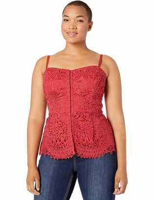 City Chic Women's Apparel Women's Plus Size Embroidered lace top with Sweetheart Neckline