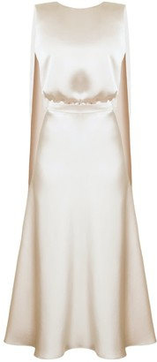 Undress Rosa Champagne Midi Dress With Back Ribbons
