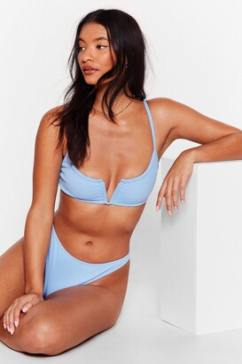 Nasty Gal Womens The Golden Rule Cut-Out High-Leg Bikini Set - Light Blue