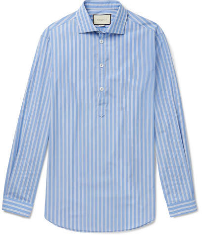 Gucci Oversized Striped Cotton-Poplin Half-Placket Shirt