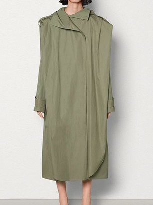 Bottega Veneta Cotton Hooded Poncho Trench Coat