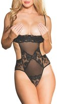 Shirley of Hollywood Floral Embroidered Open Cup Teddy, L