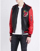 Philipp Plein Warriors Embellished Leather Bomber Jacket