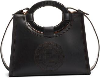 Fendi Runaway Perforated Double-F Logo Leather Shopper