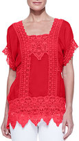 Johnny Was Collection Lacey Insert Georgette Top