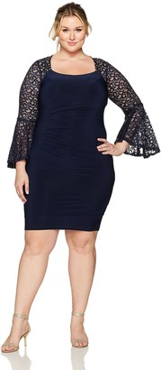 Xscape Evenings Women's Plus Size Short Ity with Lace Bell Sleeve