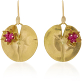 Annette Ferdinandsen Lily Pad 18K Gold and Ruby Earrings