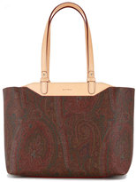 Etro boxy, paisley print tote bag with tan handles - women - Calf Leather - One Size
