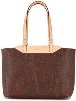 Etro boxy, paisley print tote bag with tan handles