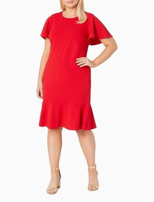 Calvin Klein Plus Size Scuba Crepe Flutter Sleeve Ruffle Hem Dress