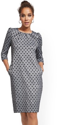 New York & Co. Dot-Print Puff-Sleeve Shift Dress - Superflex