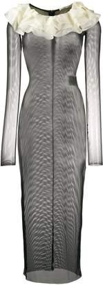Alessandra Rich Fitted Sheer Net Dress