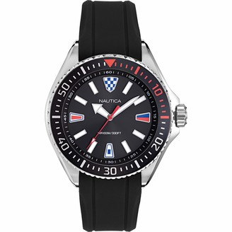Nautica Men's NAPCPS903 Crandon Park Black/Silver Silicone Strap Watch
