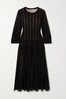 Agnona Pleated Open-knit Cotton-blend Midi Dress - Black