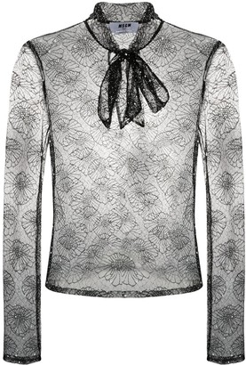 MSGM Sheer Floral-Lace Blouse