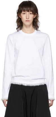 Noir Kei Ninomiya White Faux-Fur Detail Long Sleeve T-Shirt