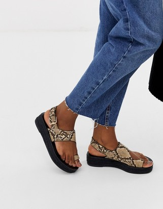 Asos Design DESIGN Judie toe loop snake espadrille sandals