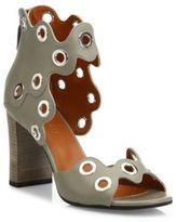 Derek Lam Umi Eyelet Leather Block Heel Sandals