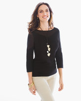 Chico's Jersey Stitch-Mix Ribbed Pullover