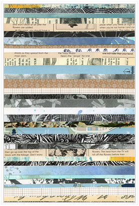 Jonathan Bass Studio Paper Strip Collage F, Decorative Framed Hand Embellished Canvas