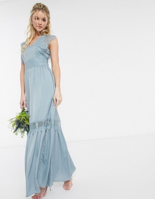 Y.A.S maxi dress with lace detail in blue