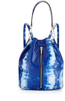Elizabeth and James Cynnie Tie-Dye Leather Drawstring Backpack, Indigo