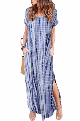 Zilcremo Women Casual Maxi Dresses Summer Tie Dye/Floral Loose Long Boho Dress with Pockets Purpletiedye XXL