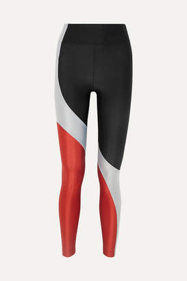 Koral Charisma Metallic Color-block Stretch Leggings - Black