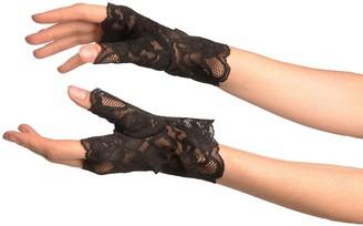 Lisskiss Black Pink Lace All Over Fingerless Gloves - Black Lace Designer Gloves