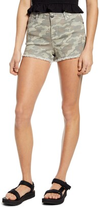 1822 Denim Frayed Camo Denim Shorts