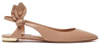 Aquazzura Drew Bow-embellished Leather Flats - Nude