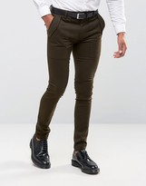 Asos Super Skinny Smart Military Style Pants In Khaki