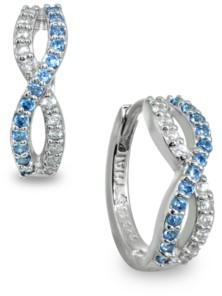 Giani Bernini White and Blue Cubic Zirconia Infinity Huggie Hoop Earrings in Sterling Silver
