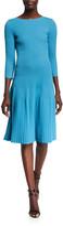 St. John Engineered Rib Knit Bateau Neck Dress