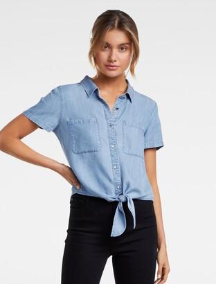 Forever New Ella Short Sleeve Tie-Up Shirt - Light wash - 14