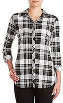 Peter Nygard Plaid Button-Front Roll-Tab Sleeve Hi-Low Shirt