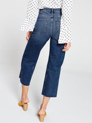 Very Wide Leg High WaistCrop Jean - Dark Wash