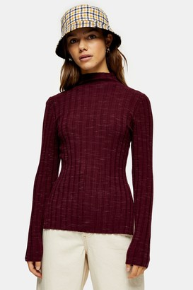 Topshop PETITE Plum Knitted Marl Funnel Neck Top