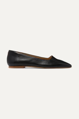 AEYDĒ Beau Leather Ballet Flats - Black