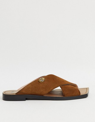 Bronx square toe slip on mules in suede