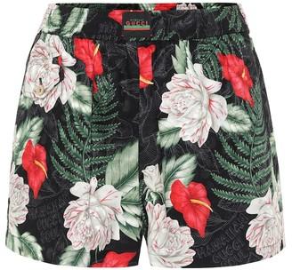 Gucci Hawaiian-print silk-jacquard shorts