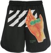 Off-White Off White graphic print mesh shorts