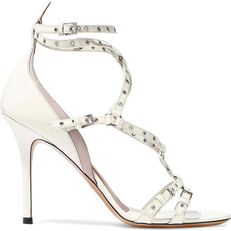 Valentino Cutout Embellished Patent-leather Sandals