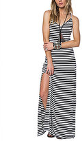 O'Neill Como Striped Knit V-Neck Lace-Up Back Maxi Dress