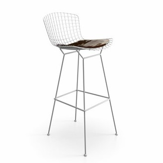 """Maen Bar & Counter Stool Upper Squarea Seat Height: Bar Stool (29.25"""" Seat Height), Color: White, Upholstery: Hide Leather"""