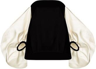 Rosie Assoulin Velvet Off-Shoulder Puff Sleeves Blouse