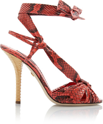 Dolce & Gabbana Tie-Detailed Snake-Effect Leather Sandals