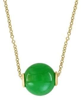 Effy 14K Yellow Gold & Green Jade Pendant Necklace
